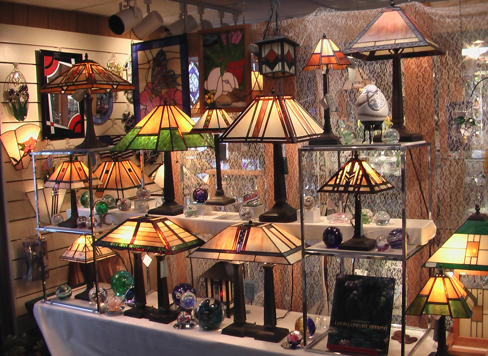 Stained glass lamps and brass bases