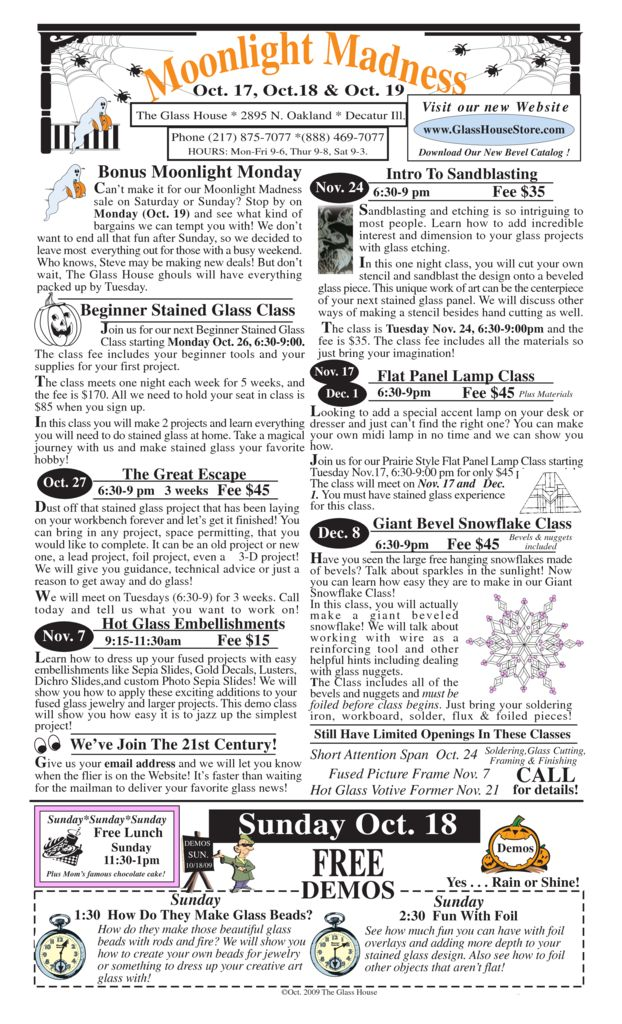 thumbnail of October Stained Glass Sale Flier – page 1 2009