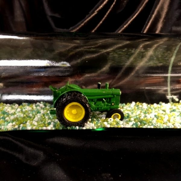 John Deere Tractor in a Bottle Close Up