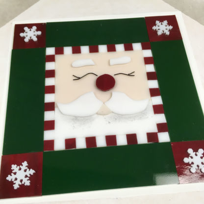 Fused santa cookie tray before kiln firing