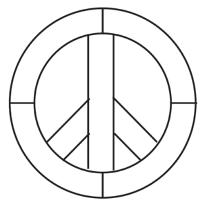 "Peace Sign Beveled Glass Kit 7"" Diameter 7 Bevels"