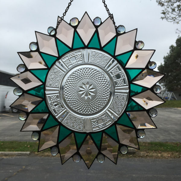 MMS Etched Stardust Bevel Cluster Finished Stained Glass Project Panel