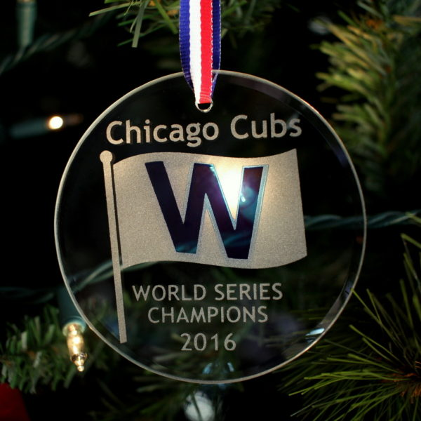 Chicago Cubs 2016 World Series Champions Beveled Glass Christmas Ornament