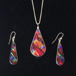 Fused Glass Iridescent Necklace and Earrings