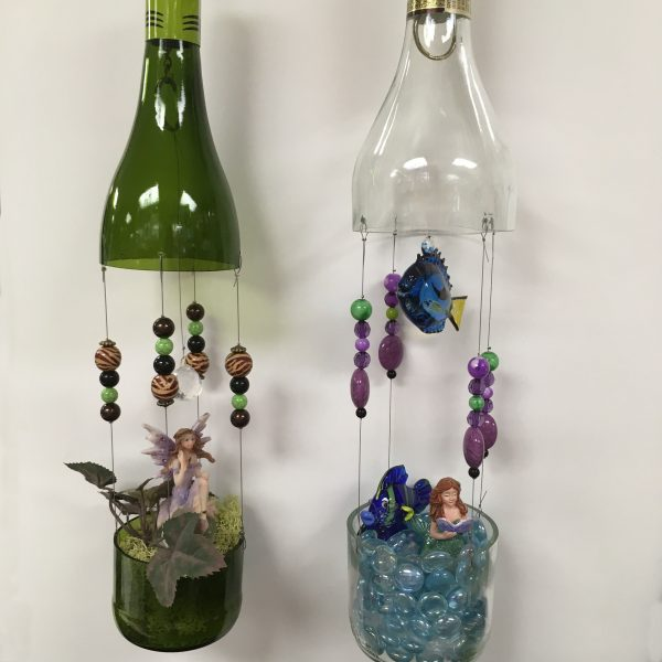 wine bottle fairy garden
