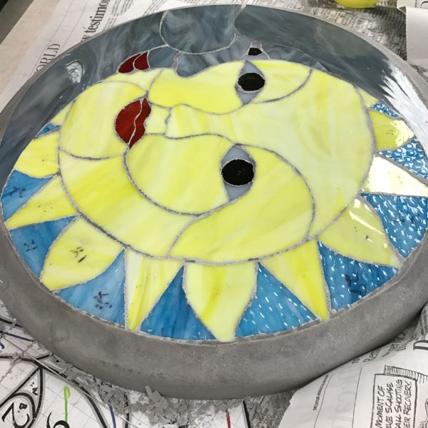 Finished Sunshine DiamondCrete Stepping Stone Class Project