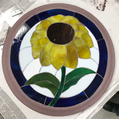 Sunflower Finished Project DiamondCrete Stepping Stone Class