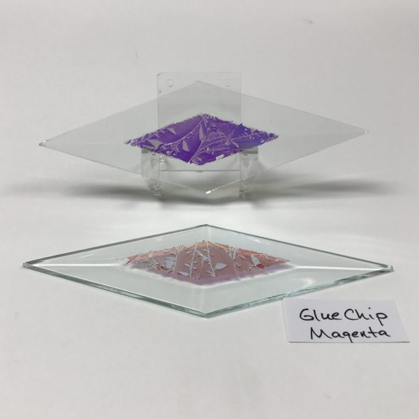 "Magenta dichroic glue chip 2"" x 6"" diamond glass stock bevel"