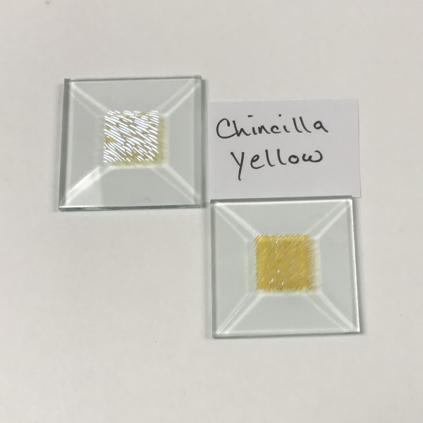 """Yellow dichroic chinecilla 1-1/2"""" x 1-1/2"""" square glass stock bevel"""