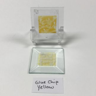 "Yellow dichroic glue chip 2"" x 2"" square glass stock bevel"