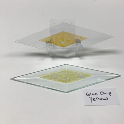"Yellow dichroic glue chip 2"" x 6"" diamond glass stock bevel"