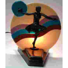 Girl and a bird art deco fan lamp base fan