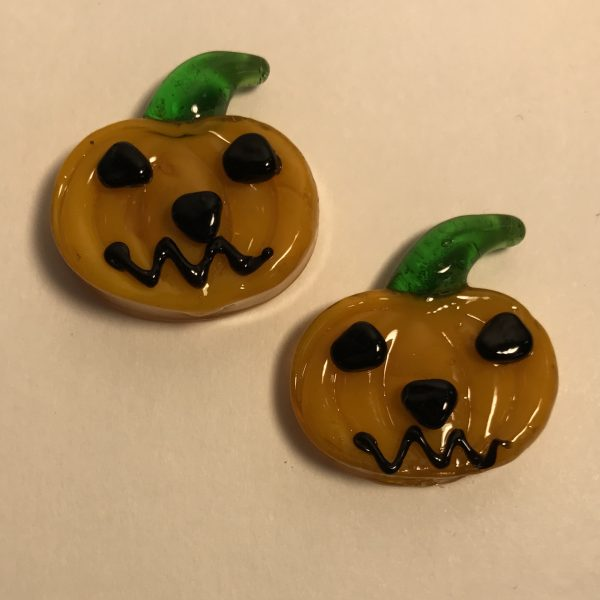 Miniature glass halloween pumpkins