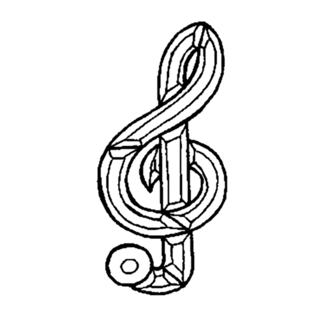 Treble Clef Music Clear Beveled Glass Cluster