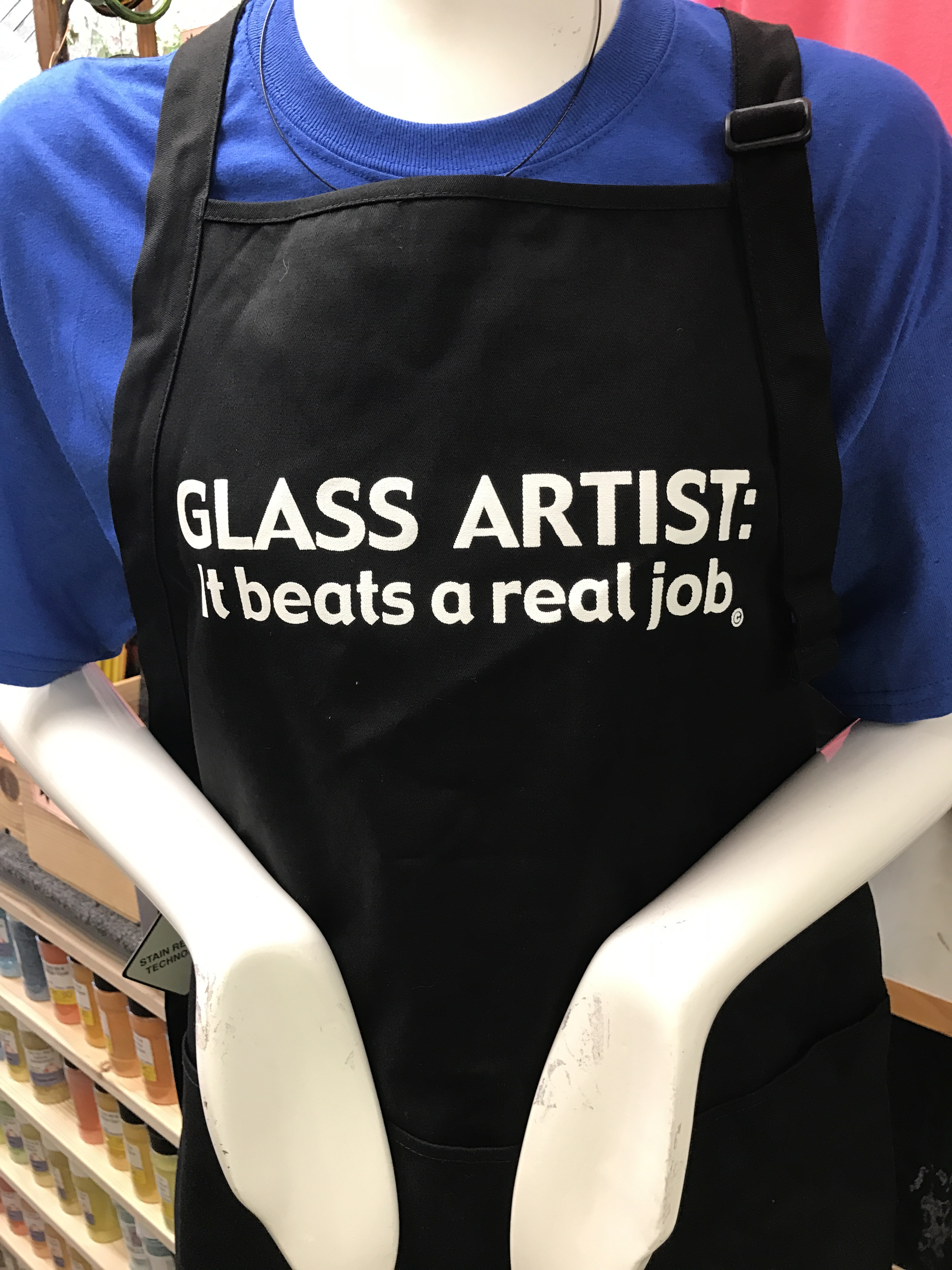 Stained Glass Apron - Glass Artist Beats a Real Job - Black
